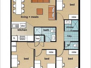 Example of a four-bedroom apartment*