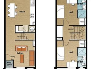 Example of a five-bedroom townhouse (ground and first level)*