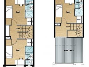 Example of a five-bedroom townhouse (second and third level)*