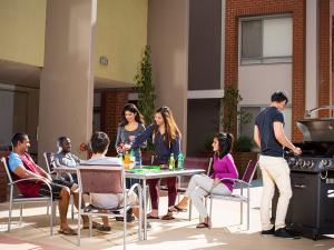 Students in the courtyard