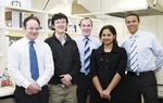 From left: University of Adelaide students involved with Somnium Innovations, a company established through the Graduate Entrepreneurial Program: Greg Edeson, Han Lu, Jamie Miller, Sindhu Shastry and Ty Yengi Photo by Chris Tonkin