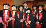 Dr Zainul Rajion (second from right) was among those to receive postgraduate Dentistry qualifications at the university's graduation ceremony in Malaysia last month.  From left: Sharifah Zainal, Norhayati Luddin, Zaihan Ariffin, Zainul Rajion and Adam Husein.  They are pictured with the Dean of the University of Adelaide's Dentistry School, Associate Professor Viv Burgess. Photo by Ben Osborne