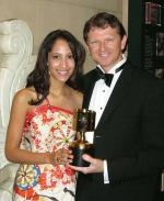 Robert Kral with his Annie Award in Hollywood, pictured with actress Christel Khalil