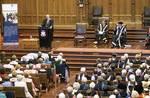 John Halbert MBE gives the address at the Golden Jubilee ceremony in Bonython Hall Photo by John Hemmings