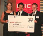 Three of the four winning Proscales team members collected their prize on the night. Photo by King Lo of the University of Adelaide Yearbook Club.