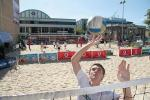 Travis Moran in action at the CityBeach courts in Adelaide's CBD Photo by Ben Osborne