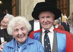 Professor Frank Fenner with sister Winifred at a University of Adelaide graduation ceremony in 2007 Photo by Candy Gibson
