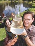 Associate Professor Holger Maier (right) with some of his students, Liam Harnett, Meredith Gee, and Brittany Coff (at front) on the banks of the Torrens River