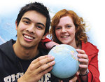 Adelaide students Daniel Ali and Jade Cooper know the benefits of studying overseas Photo by Campbell Brodie, courtesy of <i>The Advertiser</i>