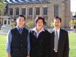 Leon Sim (right) made a quick visit to the  University of Adelaide with (from left) his son Stanley and wife Irene during his recent trip to Adelaide Story and photo by Ben Osborne