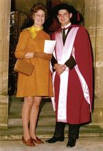 Professor Derek Frewin and his wife Margaret outside Bonython Hall in 1971 after he was awarded his Doctor of Medicine by the University Photo courtesy of Professor Derek Frewin
