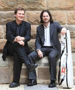 From left: Classical guitarists Aleksandr Tsiboulski and Jacob Cordover will perform as part of the Lunchtimes at ELDERHALL concert series