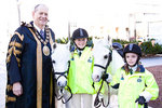 From left: Lord Mayor of Adelaide Michael Harbison with two of the riders who made the 264km trek, Renee Smith, 12, and Charlie Penna, 8, both from Moonta, with their ponies Wattle Brae Princess (who is almost 25 years old) and Rudi