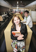 From left: First-year students Melita Ferguson (Commerce and Arts) and Harry Le (Finance) in the new First Year Learning Centre Photo by Calum Robertson, courtesy of <i>The Advertiser</i>