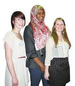 From left: St Vinnies Youth Ambassadors Jessica Wright, Lucky Giirre and Bec Taylor