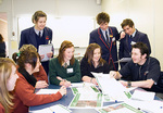 Prospective Student Adviser Tony Duggan (far right) working with secondary students at the Northern Enterprise Education Day