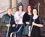 Associate Professor Elizabeth Koch (left) with flute students Nicole Pearce, Helen Seppelt and Anna Cooper