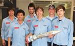University of Adelaide Aerospace Engineering students at Woomera (from left) Thomas Minge, Jia Kok, David Kemp, Phillip Mellen, Scott Beinke and David Wilke
