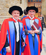 Professors Peter Colman and BrianMatthews rejoined their <i>alma mater</i> on 29September to receive honorary degrees from the University.  Both are Science PhD graduates from the University, and both have gone on to excel in their chosen fields. Photo by Wayne England