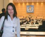 Sophie at the World Health Assembly at UN European Headquarters, Geneva