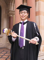 University of Adelaide Medallist and Gates Cambridge Scholar Edward Yapp was the mace bearer at his graduation ceremony in April Photo by David Ellis