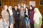 Volunteers who attended the recognition event included (from left) Ekaterina Loy (Radio Adelaide), Nisa de Souza (peer mentor, International Student Centre), Dylan Lin (Confucius Institute), Kevin Yang (peer mentor, ISC), Michelle Liu (Confucius Institute), Georgina Hafteh (peer mentor, ISC), and Elizar (peer mentor, ISC)