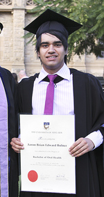 Aaron Bulner became the first Indigenous student to graduate with a Bachelor of Oral Health.  He had wanted to do this since he was in primary school and moved from Mount Gambier in the State's south-east to study in Adelaide. Photo by Candy Gibson