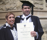 Richard Caruso, pictured with his mother, Acting Dean of Wilto Yerlo at the University, Jenni Caruso, graduated with a Bachelor of Arts (Psychology) degree Photo courtesy of Jenni Caruso
