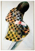 Charles Blackman, <i>Chequered Dress</i>, oil on canvas, 1964.  Adelaide University Union Collection, copyright of the artist.