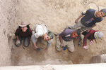 University of Adelaide field school students excavating a 7th-8th century mosaic floor at the early Islamic town of Khirbet es-Sheikh Isa, in the Dead Sea region of Jordan Photo courtesy of Dr Margaret O'Hea