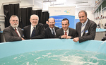From left: MISA Chair Professor Rob Lewis, University Vice-Chancellor and President Professor James McWha, SARDI Director Science Partnerships Professor Simon Maddocks, Member for Light Mr Tony Piccolo, and PIRSA Chief Executive Ian Nightingale inspect the new aquaculture biosecurity facilities Photo by Terry Price