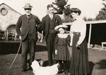 Peter Waite (left) in front of Urrbrae House stables with son David, granddaughter Dorothy and daughter Lily.
