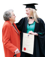 Bachelor of Commerce (Accounting) graduate Alexa Jones celebrating with her grandmother Jacqueline Schwarz