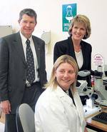 Federal Education Minister the Hon. Julie Bishop pictured with the Federal Member for Wakefield, the Hon. David Fawcett, and technical officer Kylie Chenoweth