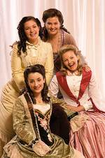 Among the cast of <i>Little Women</i> at the Dunstan Playhouse are University of Adelaide music graduates (back, from left) Eleanor Blythman and Sally-Anne Russell and (front left) Jessica Dean, pictured with fellow cast member Kylie Bailey