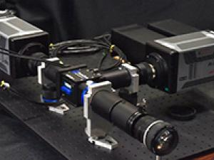 The intensified cameras bundle with an image splitter that is used in two-line atomic fluoresncece thermometry.