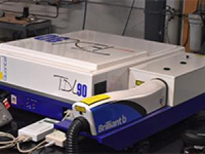A Nd:YAG (Brillinat B) pumped TDL90 dye laser that is used as a laser source (451nm) in the two-line atomic fluorescence thermometry.