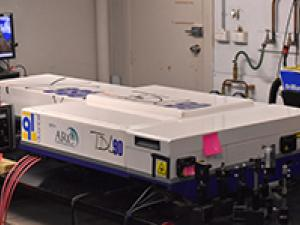A Nd:YAG (YG980) pumped TDL90 dye laser that is used as a laser source (410nm) in the two-line atomic fluorescence thermometry.