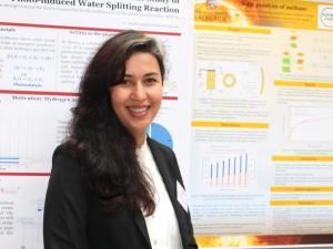 Samira Pourhedayat with her poster