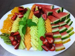 Freshly sliced fruit