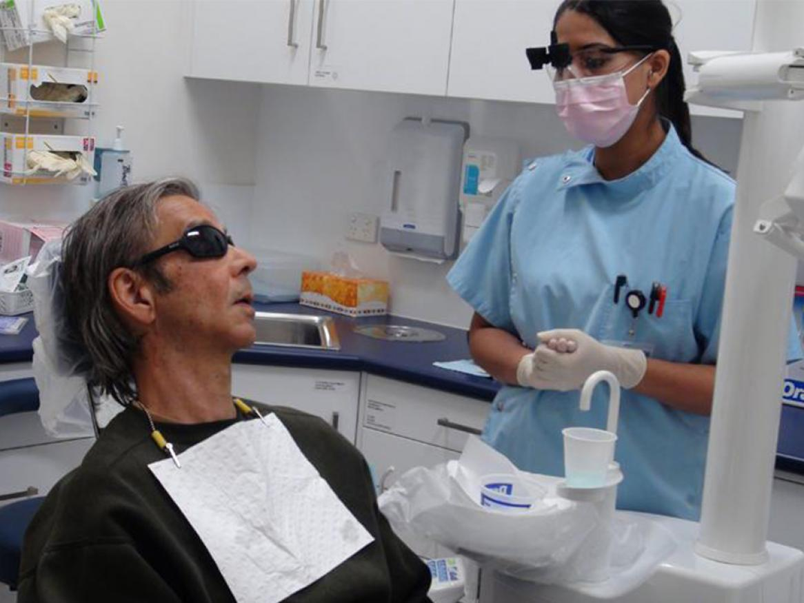 Community Outreach Dental Program student with patient