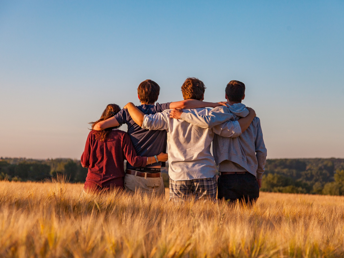 young people in a field - image