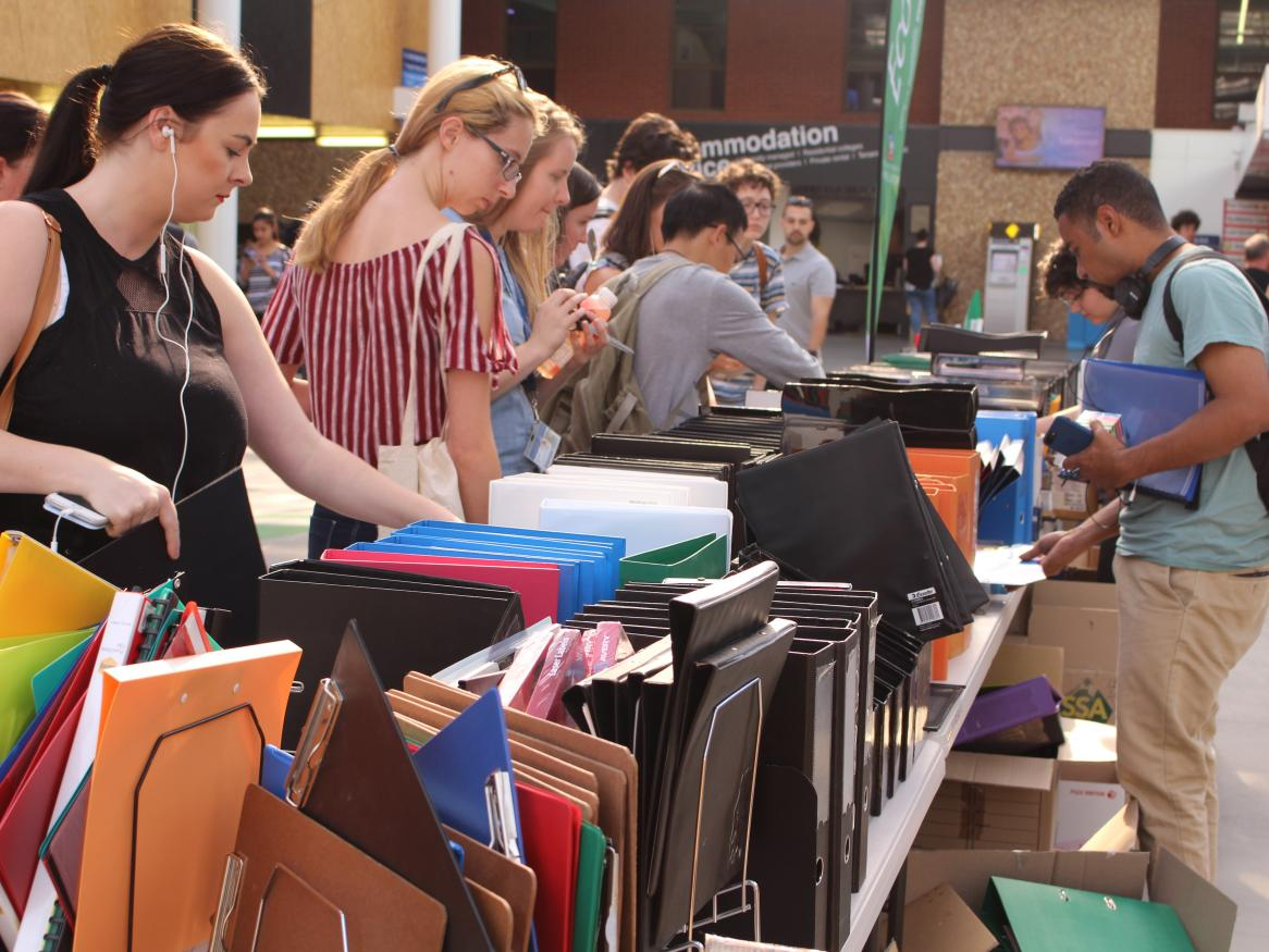 Students at stationery reuse event