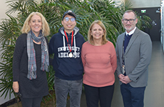 Chuanghong with his teacher Suzanne, PEP Education Program Manager, Beth Hutton and Associate Director, Learning & Teaching, Grant Packer.