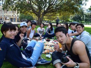ELC students having a picnic
