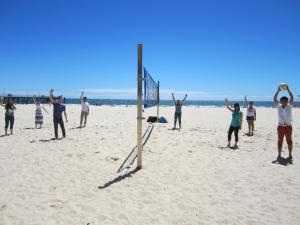 ELC students playing volleyball