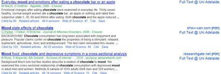 Chocolate and mood Google scholar search results page showing the title, and below the description Cited by (number of times cited), related articles etc.