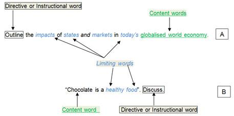 "A) Outline (directive or instructional word) the impacts (limiting word) of states (limiting word) and markets (limiting word) in today's (limiting word) globalised world economy (content words). B) ""Chocolate (content word) is a healthy food (limiting words)"". Discuss (directive or instructional word)."