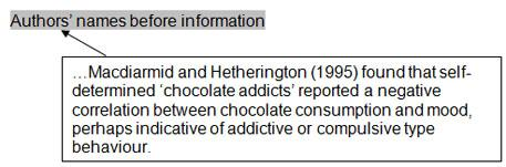 Aurthors' names before information: ...Macdiarmid and Hetherington (1995) found that self-determined 'chocolate addicts' reported a negative correlation between chocolate consumption and mood, perhaps indicative of addictive or compulsive type behaviour.