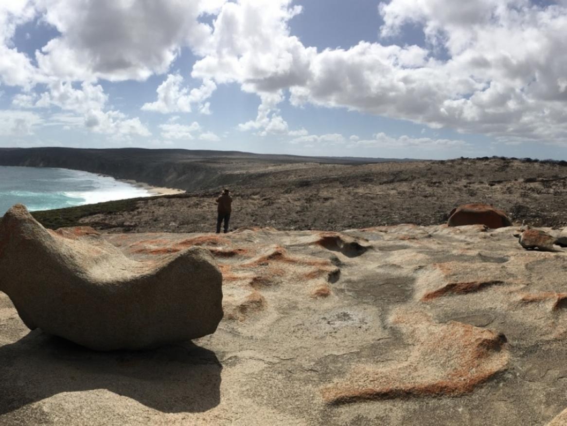 Professor Bob Hill looking out from Remarkable Rocks